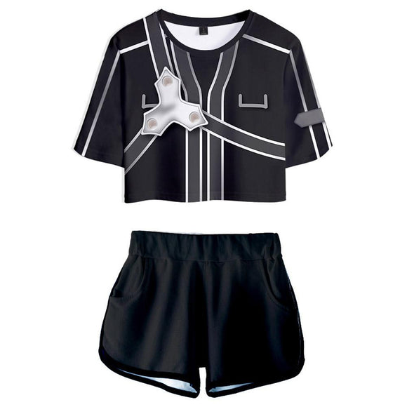 Women Sword Art Online Kirito Cosplay Crop Top & Shorts Set Summer 2 Pieces Casual Clothes