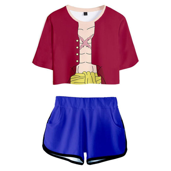 Women ONE PIECE Monkey D. Luffy Cosplay Crop Top & Shorts Set Summer 2 Pieces Casual Clothes