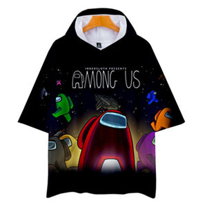 Unisex Among Us T-Shirt Cosplay Hooded Short Sleeve Pullover Tee Tops