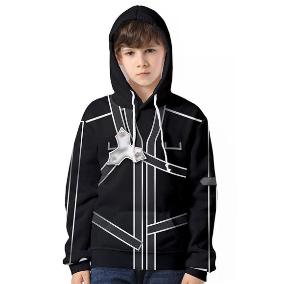 Kids Sword Art Online Hoodie Kirigaya Kazuto Cosplay Hooded Pullover Sweatshirt Cosplay Costume