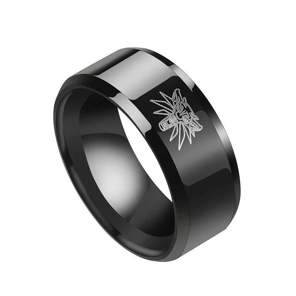 The Witcher 3 Wild Hunt Wolf Head Pattern Vintage Party Ring Medallion Stainless Steel Ring