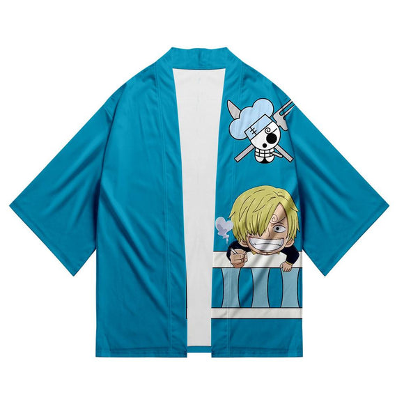 Unisex One Piece Kimono Coat Vinsmoke Sanji Printed Cosplay Costumes Halloween Costume Cloak