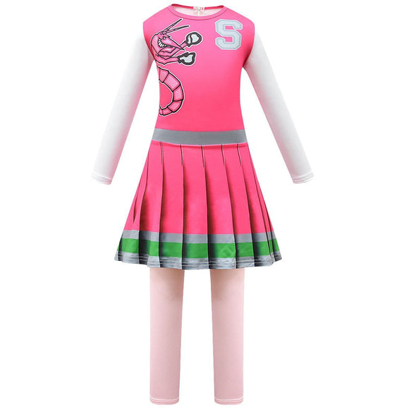 Kids Z-O-M-B-I-E-S ZOMBIES 2 Addison Cheerleader Cosplay Zentai Suit Halloween Costume Children Jumpsuit Bodysuit Outfits