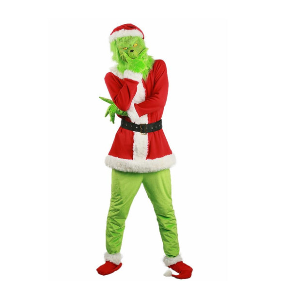 Adult Grinch Santa Hat Shoes Gloves Costume Suit for Christmas