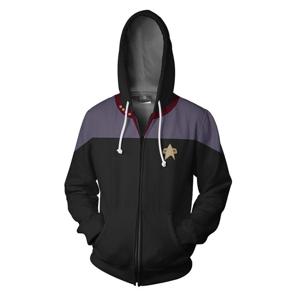 Unisex Jean-Luc Picard Hoodies Star Trek Zip Up 3D Print Jacket Sweatshirt