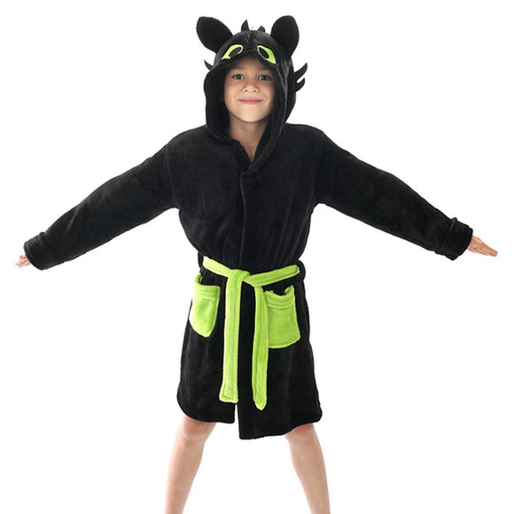 How to Train Your Dragon Toothless Cosplay Pajamas Child Kids Hooded Bathrobe Jumpsuits Sleepwear Cloak