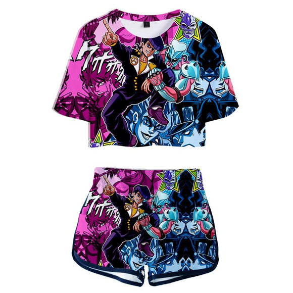 Women JoJo's Bizarre Adventure Cosplay Crop Top & Shorts Set Higashikata Josuke Printed Summer 2 Pieces Casual Clothes