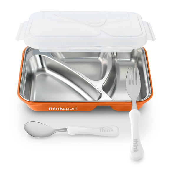 Lunch Container With Fork Spoon - Orange