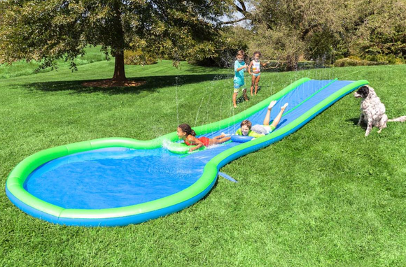 Ultimate Dual Water Slide Sprinkler, Splash Pool, and Two Speed Boards - Victoria's Toy Station