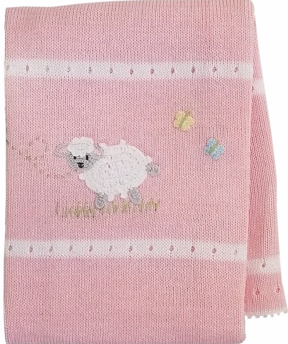 Handmade Knit pink Blanket - Victoria's Toy Station