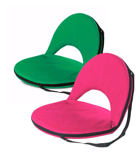 Comfortable 5-Position Folding Chair with Carrying Strap - Bright Green or Pink