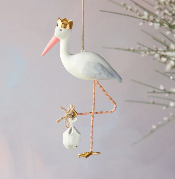 ROYAL STORK ORNAMENT PINK OR BLUE
