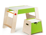 Wooden Play Station & Art Activity Easel Table Set with Stool