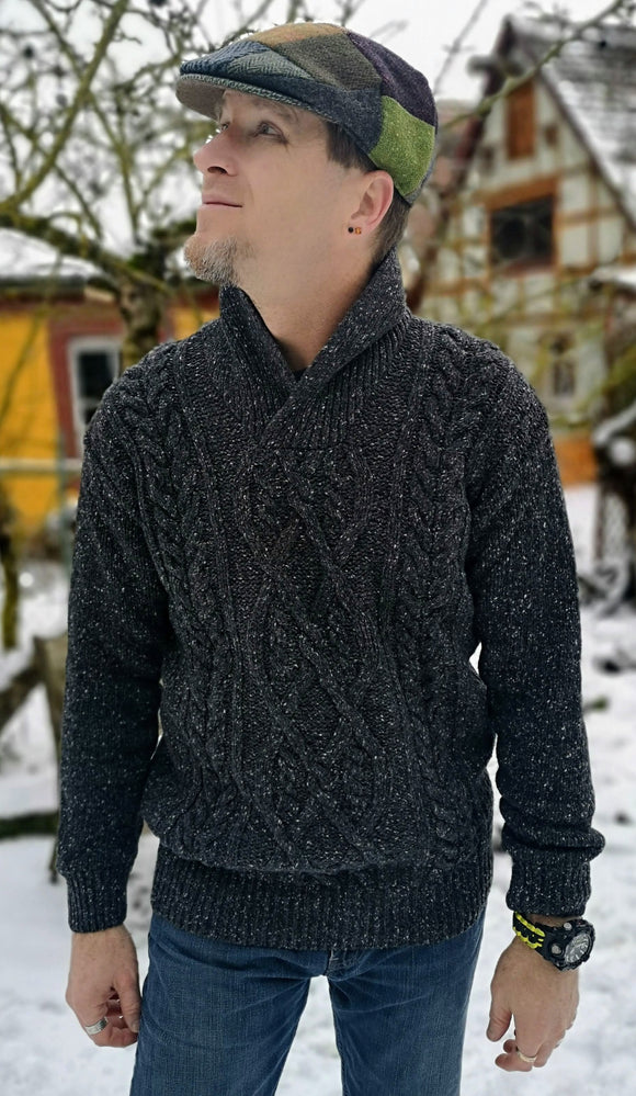 Charcoal Aran-Zopfmuster Pullover- Ireland's Eye
