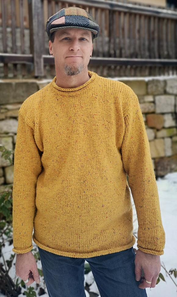 Saffron Donegal Twill Pullover - Rathlin of Ireland