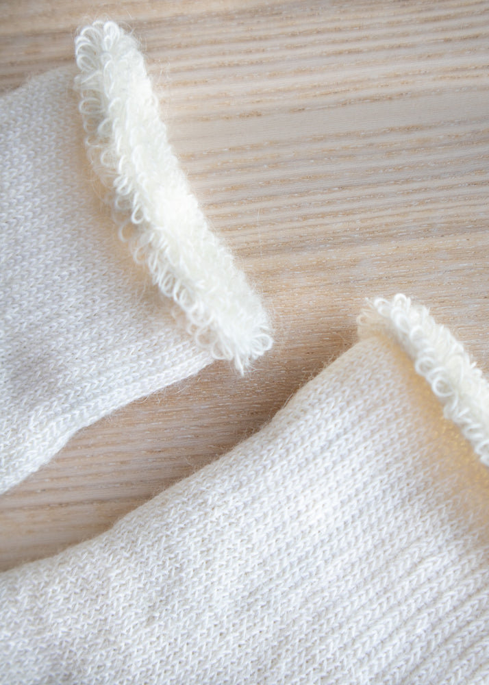 Natural White Mohair Anklet Socks