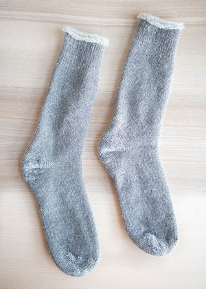 Load image into Gallery viewer, Grey Mohair Crew Socks