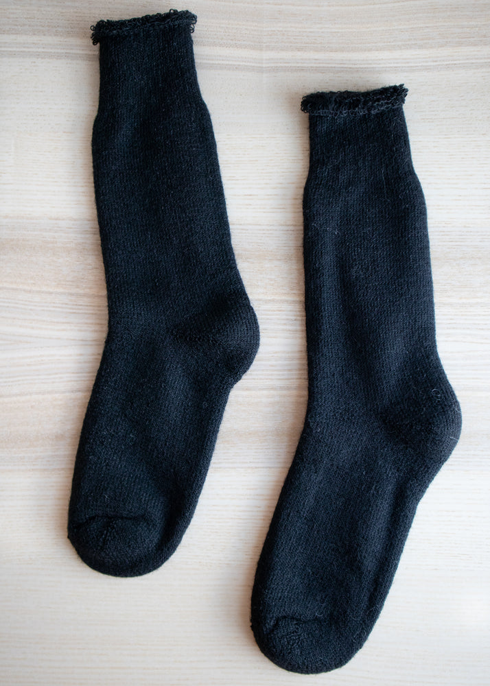 Load image into Gallery viewer, Black Mohair Crew Socks