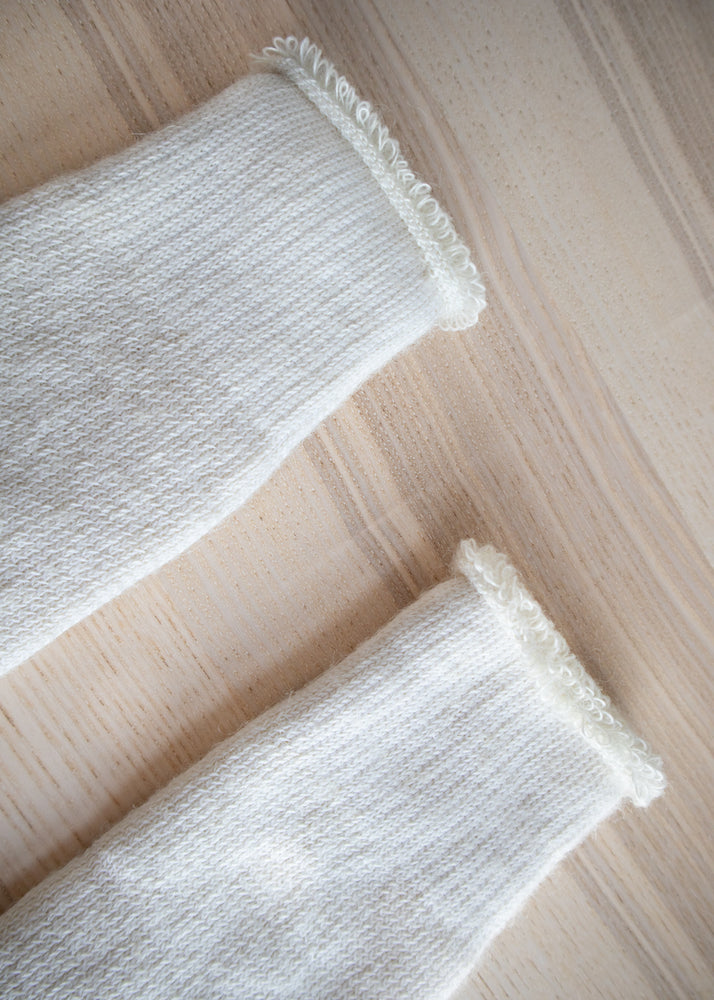 Load image into Gallery viewer, Natural White Mohair Crew Socks