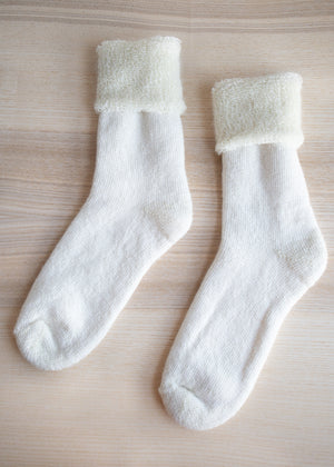 Natural White Mohair Crew Socks