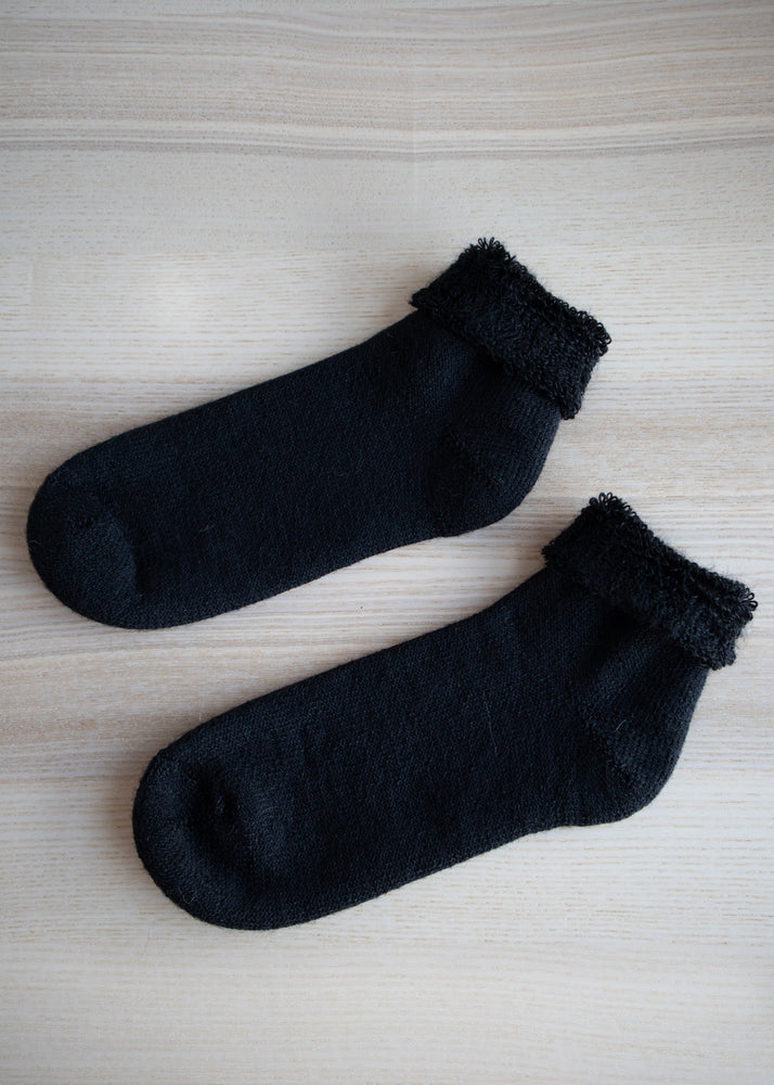 Black Mohair Anklet Socks