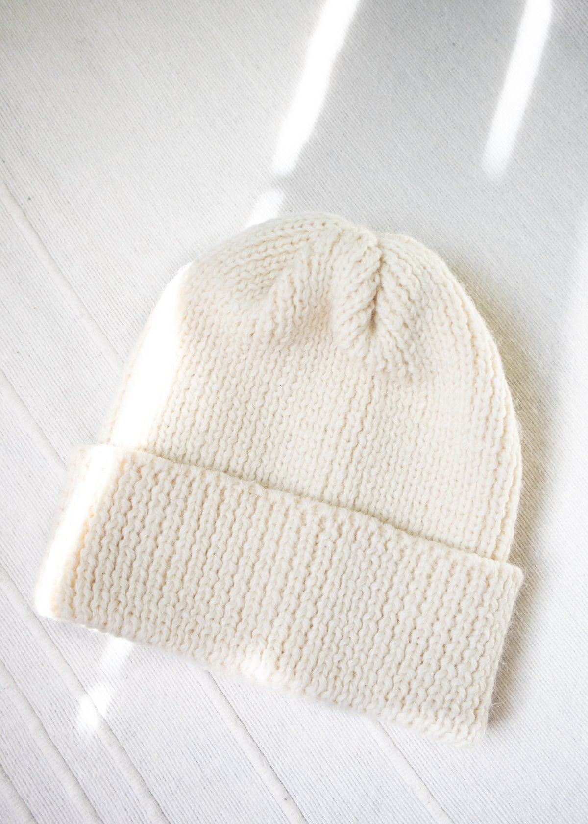 Ribbed Wool Toque Ecru