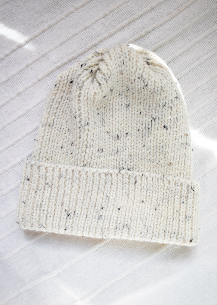 Load image into Gallery viewer, Ribbed Wool Toque Ecru Nep