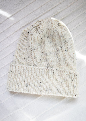 Ribbed Wool Toque Ecru Nep