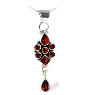 Garnet Gemstone Sterling Silver Dangle Allure Pendant