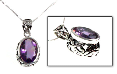 Floral Swirl Sterling Silver Pendant in Blue Topaz or Amethyst Oval Gemstones