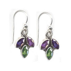 Amethyst, Peridot, Iolite Gemstone Leaf Dangle Earrings