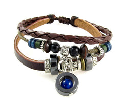 Blue Bead Multi Strand Leather Bracelet Adjustable Fits 6 to 9 Inches