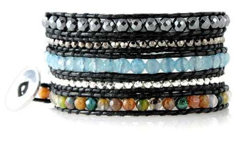 Hematite and Agate 5x Wrap Leather Bracelet