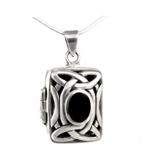 Ornate Black Onyx Celtic Locket Sterling Silver Pendant Necklace