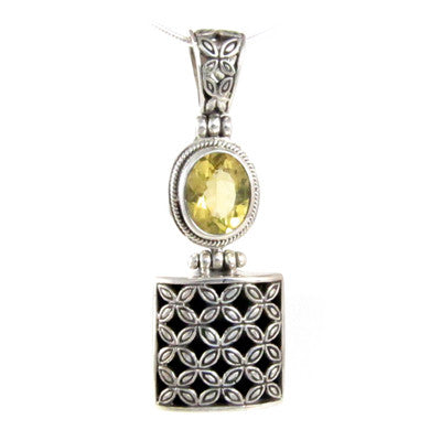 4 Ct Oval Yellow Citrine Gemstone Sterling Silver Pendant Necklace