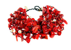 Red Coral and Pearl 10 Strand Statement Bracelet