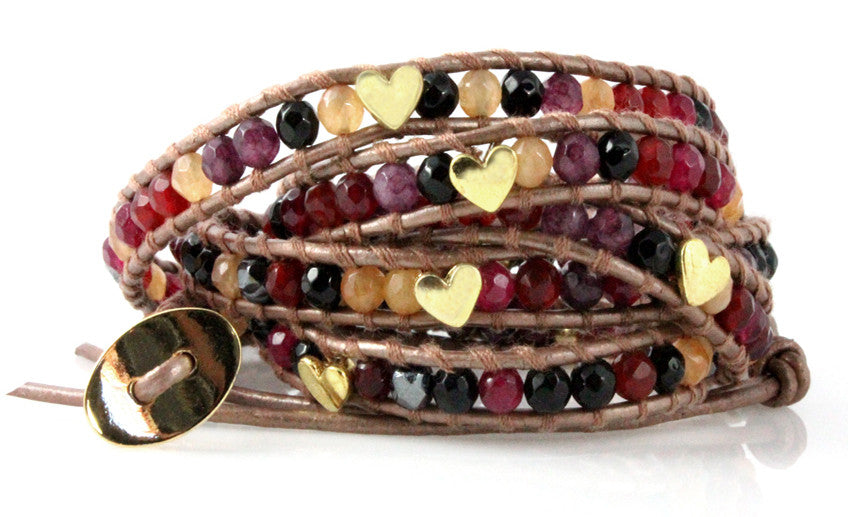 Heart Agate Bronze Leather Five Wrap Bracelet