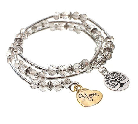 MOM Heart and Tree of Life Faceted Glass Bead Triple Wrap Silvertone Bangle Bracelet