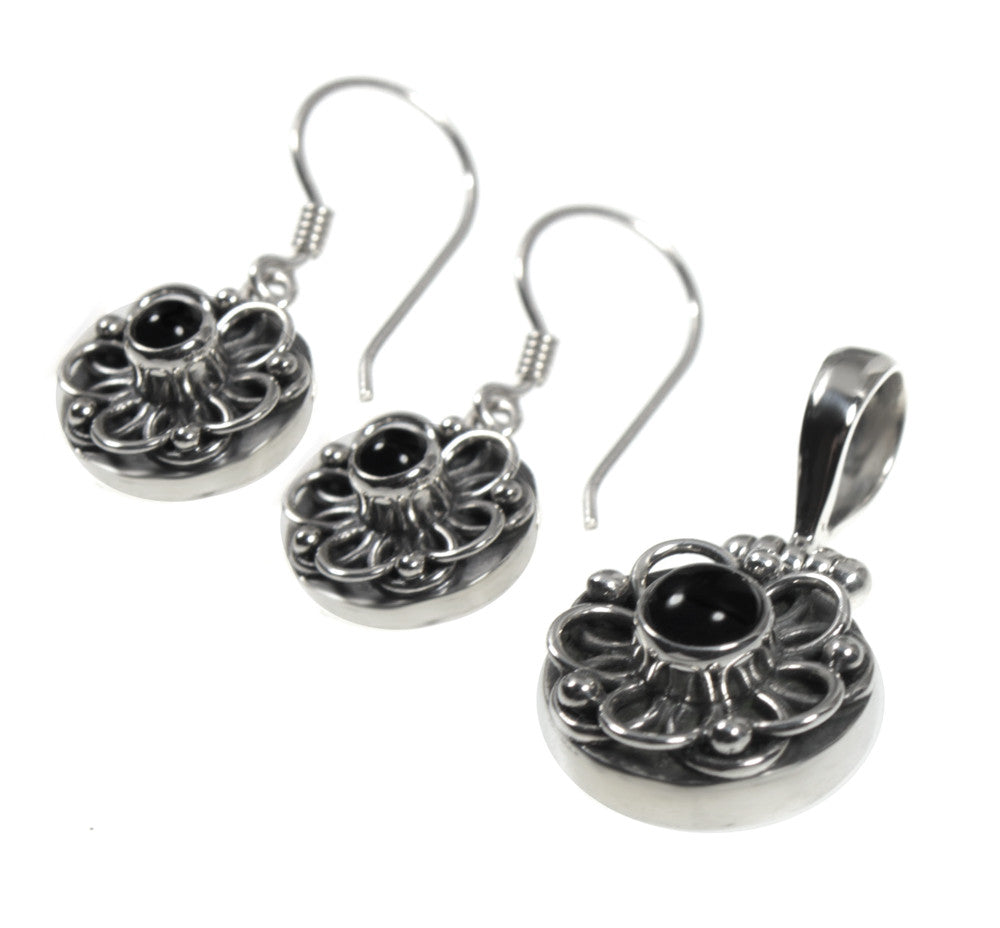 Ornate Black Onyx Earring and Necklace Designer Jewelry