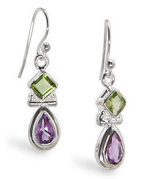 Peridot Amethyst Sterling Silver Gemstone Earrings