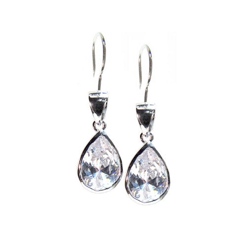 Pear Cut Cubic Zirconia Sterling Silver Dangle Earrings