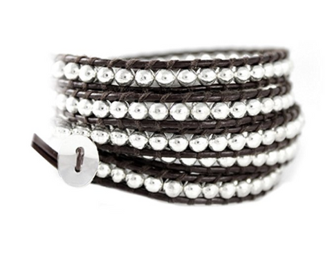 Midnight Brown Leather 5x Wrap Bracelet with High Polish Silvery Beads