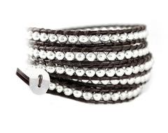 brown leather 5x wrap bracelet with silver beads