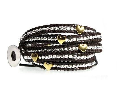 Quality Handcrafted Brown Leather 5x Wrap Bracelet Golden Hearts