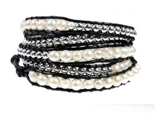 Stunning White Freshwater Pearl and Black Leather 5x Wrap Handcrafted Bracelet