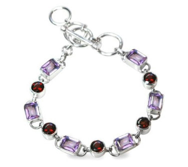 Amethyst and Garnet Gemstone Sterling Silver Bracelet