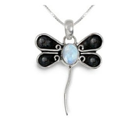Dragonfly Sterling Silver Moonstone Gemstone Pendant