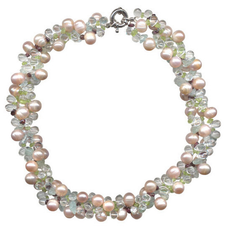Triple Strand Freshwater Pearl and Gemstone Necklace