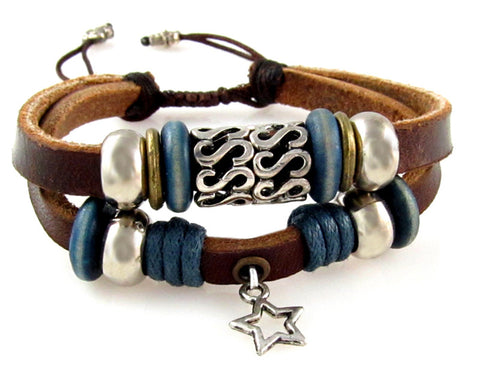 Star Dangle Multi Strand Leather Boho Wide Cuff Bracelet Adjustable