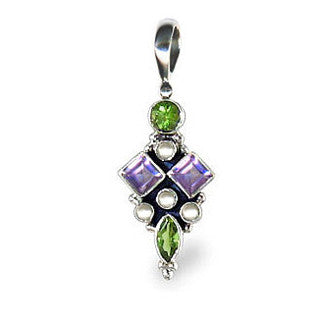 Sterling Silver Suffragette Style Pendant with Amethyst, Peridot, Pearls